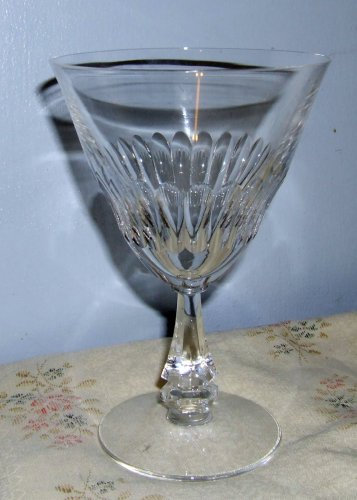 """7 Tiffin Cut Crystal  Goblets """"Silhouette"""" 6 Champagne/Sherbets, 1 Water Goblet"""