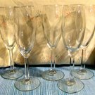 Five Champagne Flutes with Hexagonal Flared Stems