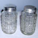 Hazel Atlas Salt and Pepper Shakers, Colonial Block Pattern, Aluminum lids