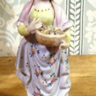 Vintage Bisque Colonial Era Lady Gathering Flowers in Basket
