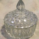 Vintage Clear Glass Round Small Dish w/ Lid Diamond Point Candy Nut Trinket
