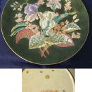 Beautiful Decorative Plate, Green with Orchid & Florals, Gold Trim