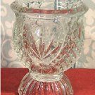 Vintage Pressed Glass Pedestal Votive Candle Holder in Pineapple Pattern