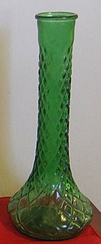 Vintage Pressed Glass Forest Green Diamond Pattern Genie Bottle Shaped Bud Vase