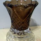 Dark Amber Glass with Clear Glass Base Candleholder, Hearts & Diamonds Pattern