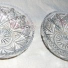 Two Small Vvintage Nappy bowls with Sawtooth Edge and StarBurst  Pattern