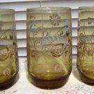 "3 Vintage Amber Libbey Floral ""Paisley"" Print Glasses 6 Oz Juice Tumblers"