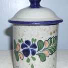 Handpainted Netzi Mex PotteryCcontainer w/Knobbed Lid, Signed, 5.5""