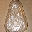 Vintage Hazel Atlas Glass Pear Shaped Dish With Gold Trim, Nuts Candy Pickles