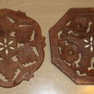 Two Vintage Hand Carved Seesham Wood Trivets w/ Floral Inlay Center, India