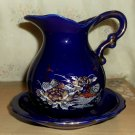Kutani Style Pitcher and Basin Set In  Cobalt with Peacocks and Florals, 5""