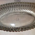 "Vintage Jeannette Glass ""National"" Clear Rib & Hobnail Oblong Dish, Handles"