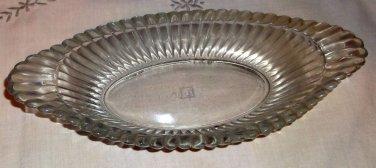 "Vintage Jeannette Glass ""National"" Clear Rib & Hobnail Oblong Dish, Handles"