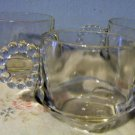Trio of Vintage Anchor Hocking Clear Glass Punch Cups Bubble Bead Handle
