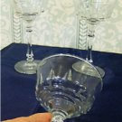 Three Lead Crystal Champagne Glasses, Slender Faceted Stems, Libbey Rock Sharp