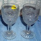 Two Cordial Liquor Limoncello Glasses in wildflower pattern, Scalloped Feet
