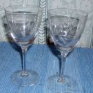 Two Vintage Wine Glasses with Impressed Leaf Pattern on Cups
