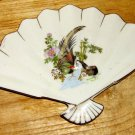 Vintage Ceramic Fan Trimmed in Gold with Pheasant and Floral Pattern