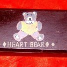 Vintage / Retro Wooden Pencil Box,  Hand-Painted w/Bear, Hearts, Says Heart Bear