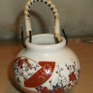 "Vintage Oriental Mini Ceramic Pot with Bamboo Handle, 1 7/8"" high w/o handle"