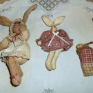 Three Tiny Vintage Handcrafted Stuffed Rabbits
