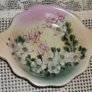 Vintage Ceramic Hand Painted Floral Serving Bowl with Handles & Gold Trim