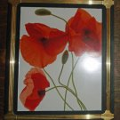 "Black w/  Brass Inlay Frame w/ Art Print of Poppies, 11.5"" X 9.75"