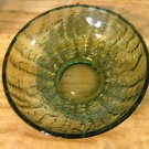"Vintage Avocado Green Glass Bowl with a ""Bark"" or ""Bumpy"" Texture"