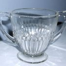 Vintage Pressed Glass Sugar Bowl with Double Handle, Footed, Diamond & Ridges