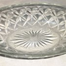 Vintage Pressed Glass Oval Relish/Celery/Candy Dish, Diamond Sides, Burst Bottom
