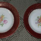 Two Soup Bowls in Meissen Rose-Red, Limoges, 22K gold trim, by Triumph USA