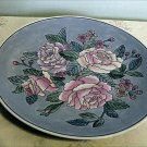 Sky Blue Cabinet Plate with Low Relief Pink Roses, Hand Painted
