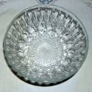 Small, Elegant Pressed Glass Serving Bowl with Tall Facets w/Incised Loop Patter