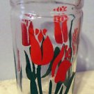 "Vintage 50's Tea or Water Glass with Red Tulips, 6"" Tall"