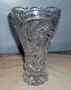 Vintage EAPG Vase, Pinwheels/Buzzsaw and Diamonds, Etched with Stars and Bursts