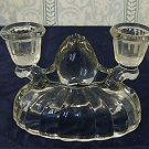Vintage Clear Pressed Glass Double Candlestick Candle Holder