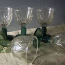 Set of Five Vintage Avon Emerald Accent Cordial Apertif Limocello Glasses