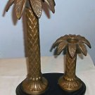Pair Vintage Heavy Tall Brass Hollywood Regency Palm Tree Candlestick Holders