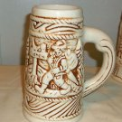 Large Ivory and Brown Beer Stein Mug, Stoneware, Alpine Hiker