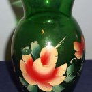 Vintage Anchor Hocking Forest Green Glass Vase wtih Handpainted Floral