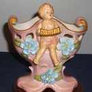 Lovely Pink Vase with Applied Blue Flowers & Cherub Playing Accordian, Cutouts