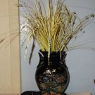 Vintage Black Vase with Gold Trim & Gold Lined Floral Pattern, on Wheeled Cart