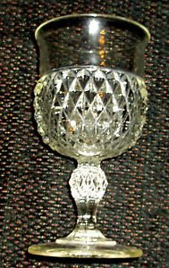 Indiana Glass Stemmed Water Glass in Diamond Point Pattern