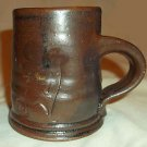 Handthrown Pottery Coffee Cup / Mug, Brown w/Foliage Deco