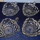 Four Jeanette Cube/Cubist Clear Glass Triangular Serving Dishes w/Handles