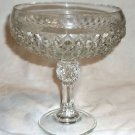 Indiana Glass Diamond Point Clear Glass Footed Compote Serving Candy Bowl