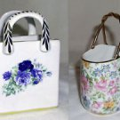 Two Little Ceramic Baskets/Bags/Trinket, Blues Roses & Pink Floral