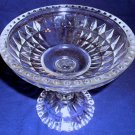 Jeannette Glass Windsor Compote Pedestal Dish, Depression Glass Diamond Bead Rim