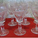 Seven Crystal Wine Glasses in an Arched Thumbprint Panel & Diamond Pattern