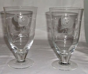 Two Grey Cut and Etchecd Crystal Juice Glasses in a Rose Pattern